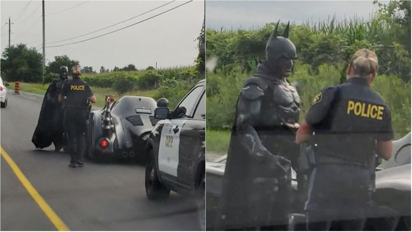 Viral Video Captures Hilarious Moment 'Batman' Was Pulled Over By Police