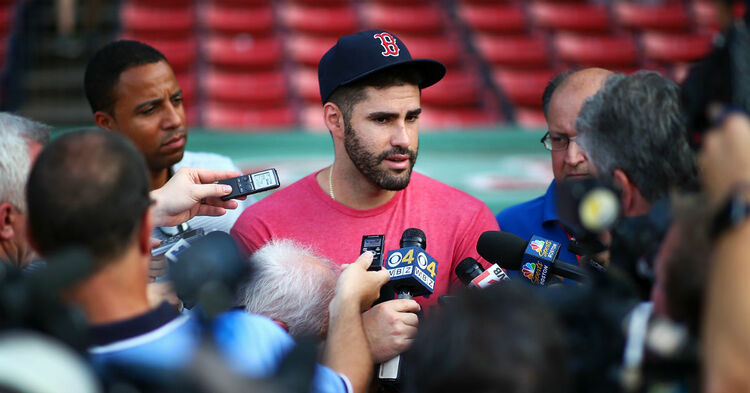 J.D. Martinez #28 of the Boston Red Sox addresses the media before a game against the Miami Marlins at Fenway Park on August 28, 2018 in Boston, Massachusetts. (Photo by Adam Glanzman/Getty Images)