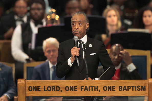 Rev. Al Sharpton speaks at the funeral for Aretha Franklin at the Greater Grace Temple