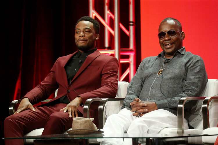 Viacom Summer TCA BEVERLY HILLS, CA - JULY 27: Actor Woody McClain (L) and recording artist Bobby Brown of the television show 'The Bobby Brown Story' speak during the Viacom segment of the Summer 2018 Television Critics Association Press Tour at the Beverly Hilton Hotel on July 27, 2018 in Beverly Hills, California (Photo by Phillip Faraone/Getty Images for Viacom)