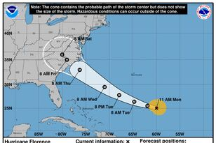 Florence Is Once Again A Cat 4 Hurricane, Heading For The Carolina Coast