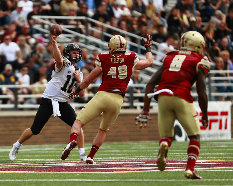 CHESTNUT HILL, MA - SEPTEMBER 09: Quarterback John Wolford #10 of the Wake Forest Demon Deacons passes the ball during the second quarter of the game against the Boston College Eagles at Alumni Stadium on September 9, 2017 in Chestnut Hill, Massachusetts. (Photo by Omar Rawlings/Getty Images)