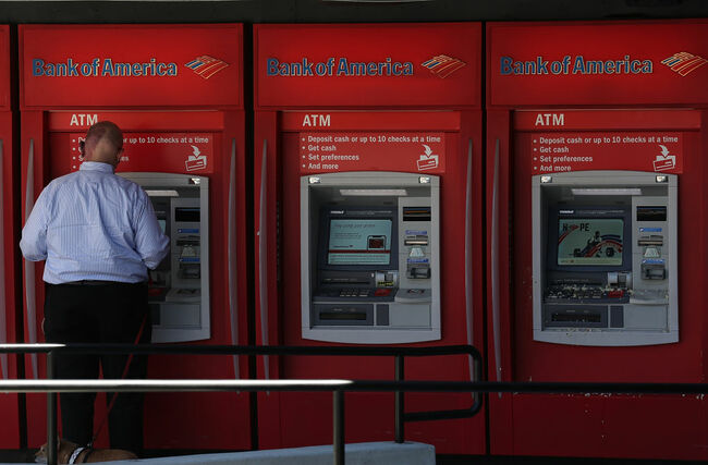 SAN FRANCISCO, CA - JULY 16: A customer uses an ATM machine at a Bank of America office on July 16, 2018 in San Francisco, California. Bank of America reported stronger than epxpected second quarter earnings with a 33 percent surge in profits to $6.8 billion, well above the estimated $5.92 billion. (Photo by Justin Sullivan/Getty Images)