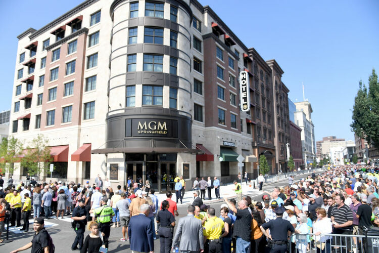 SPRINGFIELD, MA - AUGUST 24: A view of the Massachusetts Processional through Downtown's Main Street for the Grand Opening of MGM Springfield on August 24, 2018 in Springfield, Massachusetts. (Photo by Nicholas Hunt/Getty Images for MGM Springfield)