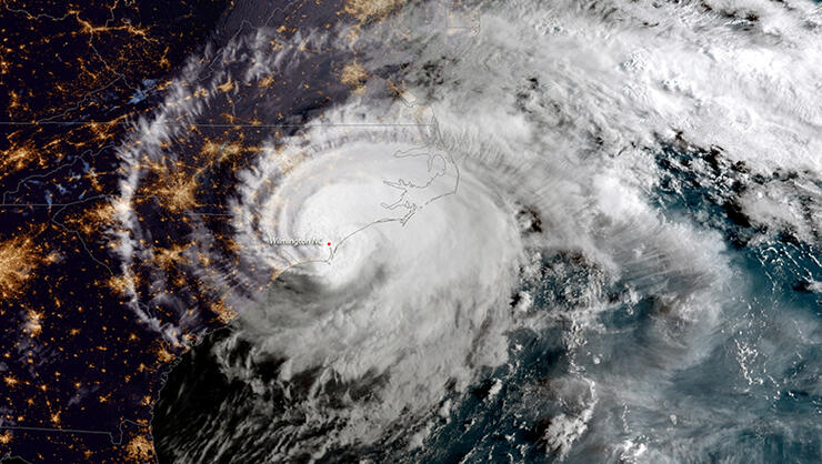 In this NOAA satellite handout image , shows Hurricane Florence as it made landfall near Wrightsville Beach, North Carolina on September 14, 2018. The National Hurricane Center reported Florence had sustained winds of 90 mph at landfall and was moving slowly westward at 6 mph.