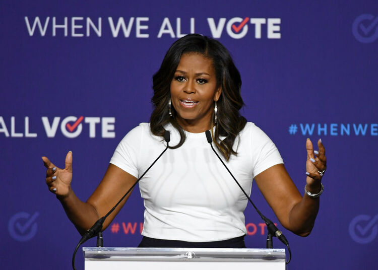 Former first lady Michelle Obama speaks during a rally for When We All Vote's National Week of Action. Getty Images.