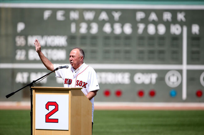 BOSTON, MA - AUGUST 20: Longtime NESN broadcaster and former Boston Red Sox second baseball Jerry Remy talks during a ceremony honoring his thirty years in the broadcast booth before a game against the New York Yankees at Fenway Park on August 20, 2017 in Boston, Massachusetts. (Photo by Adam Glanzman/Getty Images)