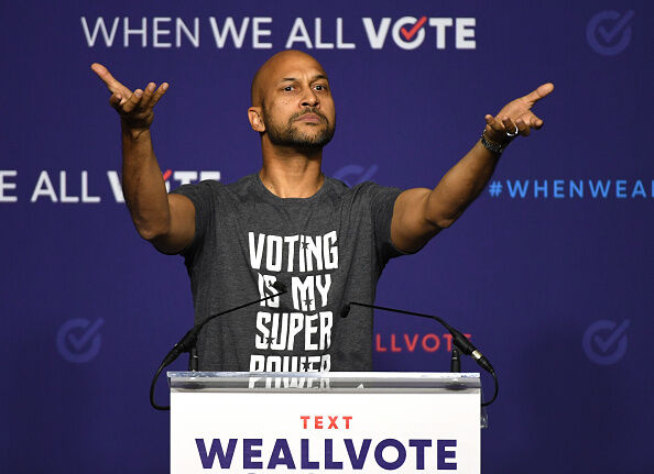 Actor Keegan-Michael Key speaks during a rally for When We All Vote's National Week of Action featuring former first lady Michelle Obama.
