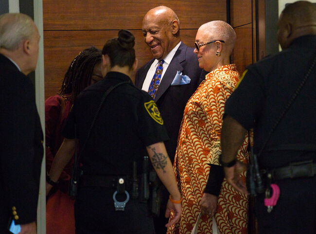 Camille Cosby (R) and Bill Cosby arrive for his sexual assault trial April 24, 2018 at the Montgomery County Courthouse in Norristown, Pennsylvania. A former Temple University employee alleges that the entertainer drugged and molested her in 2004 at his home in suburban Philadelphia. More than 40 women have accused the 80 year old entertainer of sexual assault. (Photo by Jessica Griffin-Pool/Getty Images)
