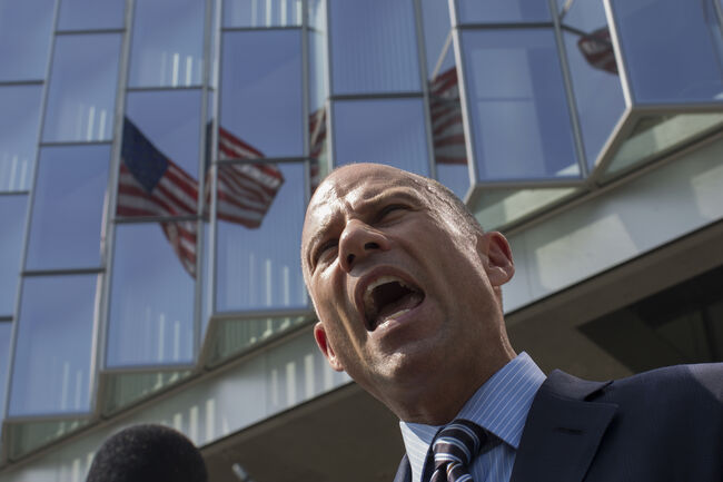 LOS ANGELES, CA - JULY 27: Attorney Michael Avenatti, who represents adult film actress Stormy Daniels, speaks to reporters during a break in a motions hearing on July 27, 2018 in Los Angeles, California. Daniels, whose real name is Stephanie Clifford, is suing President Donald Trump and his former personal attorney, Michael Cohen, claiming that she was defamed and campaign finance law was violated by brokering a non-disclosure pact just before the 2016 presidential election. Avenatti maintains that the agreement is invalid because Trump did not sign it. (Photo by David McNew/Getty Images)