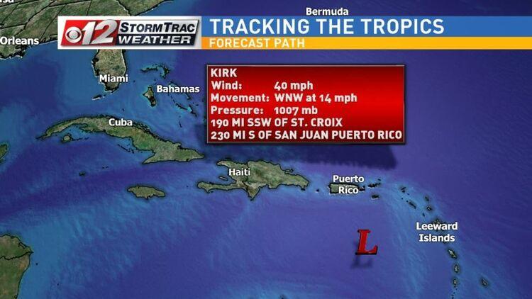 Kirk Weakens In Caribbean; Subtropical Storm Leslie Strengthens