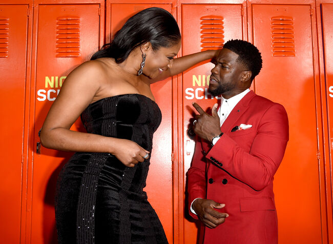 Premiere Of Universal Pictures' 'Night School' - Red Carpet LOS ANGELES, CA - SEPTEMBER 24: Actress Tiffany Haddish (L) and actor Kevin Hart arrive at the premiere of Universal Pictures' 'Night School' at the Regal Cinemas L.A. LIVE Stadium 14 on September 24, 2018 in Los Angeles, California. (Photo by Kevin Winter/Getty Images)