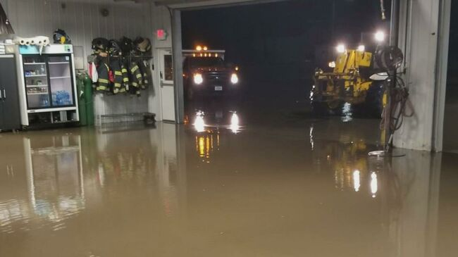 West Branch, Iowa Police and Fire Station flooding KCRG-TV Photo