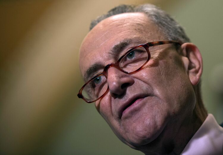 Democratic US Senator Chuck Schumer speaks during a press briefing about the recent FBI investigation into US Supreme Court nominee Brett Kavanaugh on Capitol Hill in Washington, DC on October 4, 2018. - Top Democrats on Thursday denounced the latest FBI investigation into sexual assault allegations against Kavanaugh as 'incomplete' and 'limited.' 'It looks to be a product of an incomplete investigation that was limited, perhaps by the White House, I don't know,' Democratic US Senator Dianne Feinstein said. (Photo by ANDREW CABALLERO-REYNOLDS / AFP) (Photo credit should read ANDREW CABALLERO-REYNOLDS/AFP/Getty Images)