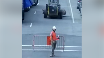 JB -  Construction Worker Directing Traffic Is GREAT