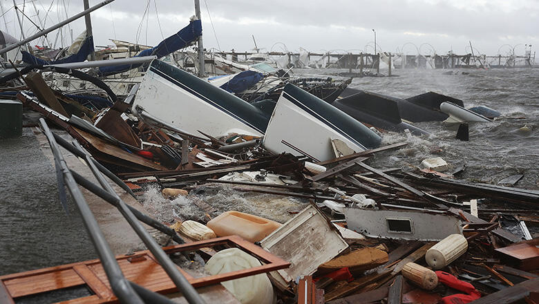 Boats that were docked are seen in a pile of rubble after hurricane Michael passed through the downtown area on October 10, 2018 in Panama City, Florida. The hurricane hit the Florida Panhandle as a category 4 storm