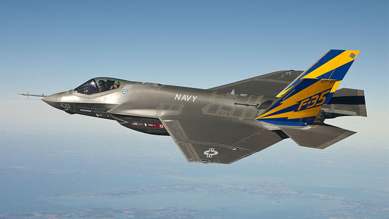 In this image released by the U.S. Navy courtesy of Lockheed Martin, the U.S. Navy variant of the F-35 Joint Strike Fighter, the F-35C, conducts a test flight