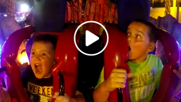 Buzzing - WATCH: Little Brother Hilariously Calms His Big Brother On Sling Shot Ride!