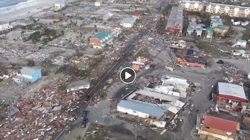 SC-Stormwatch - Hurricane Michael Devastation in Mexico Beach from Helicopter