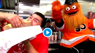 Chio - Jimmy Kimmel Live's Guillermo & Gritty Stop By Pat's Steaks in Philly