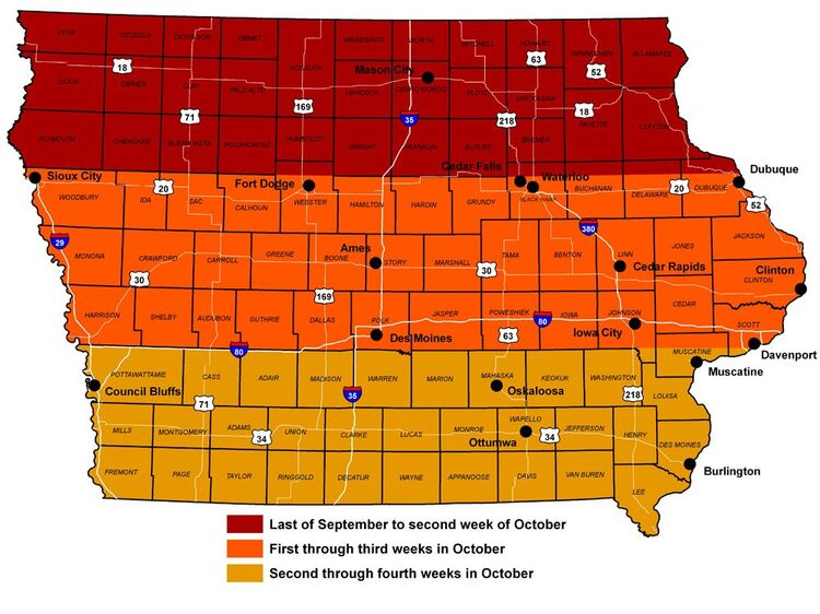 Iowa Fall Color Map - TravelIowa.com