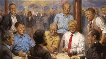 The Insider - Painting of Trump Having A Diet Coke With Lincoln Hangs Now in Whitehouse