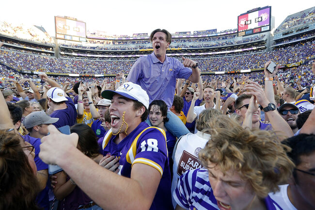 LSU fans storm field after Georgia Getty Images