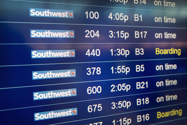 Southwest Depature Board Getty Images