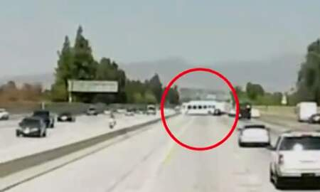 National News - Dashcam Footage Shows Moment Bus Loses Control on California Freeway