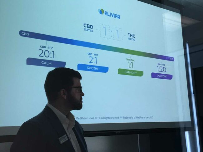 Lucas Nelson at rollout of Aliviar products by MedPharm Iowa.  Photo Wendy Wilde