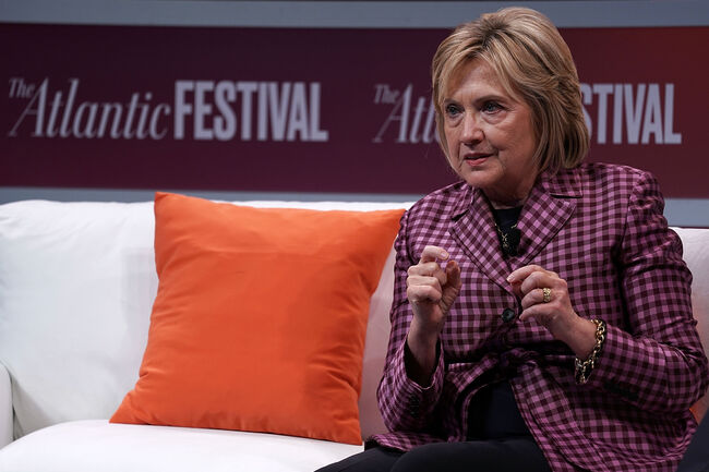 WASHINGTON, DC - OCTOBER 02: Former U.S. Secretary of State Hillary Clinton participates in a discussion during the 2018 Atlantic Festival October 2, 2018 in Washington, DC. The Atlantic held its annual festival on 'the most consequential topics facing us today.' (Photo by Alex Wong/Getty Images)