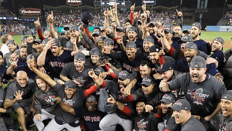 : The Boston Red Sox celebrate their 5-1 win over the Los Angeles Dodgers in Game Five to win the 2018 World Series at Dodger Stadium