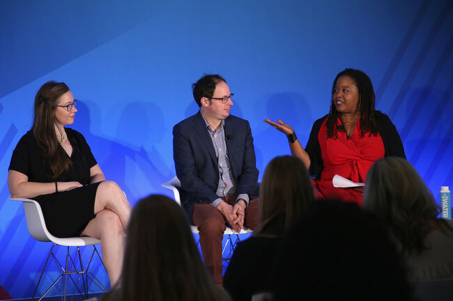 NEW YORK, NY - SEPTEMBER 27: (L-R) Clare Malone, Nate Silver, and Farai Chideya speak onstage at the What Happened In The First Debate And Where The Race Goes From Here panel on Bing Stage during 2016 Advertising Week New York on September 27, 2016 in New York City. (Photo by Paul Zimmerman/Getty Images for Advertising Week New York)