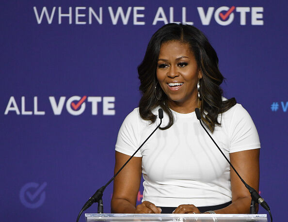 Michelle Obama Attends 'When We All Vote' Rally In Las Vegas LAS VEGAS, NV - SEPTEMBER 23: Former first lady Michelle Obama speaks during a rally for When We All Vote's National Week of Action at Chaparral High School on September 23, 2018 in Las Vegas, Nevada. Obama is the founder and a co-chairwoman of the organization that aims to help people register and to vote. Early voting for the 2018 midterm elections in Nevada begins on October 20. (Photo by Ethan Miller/Getty Images)