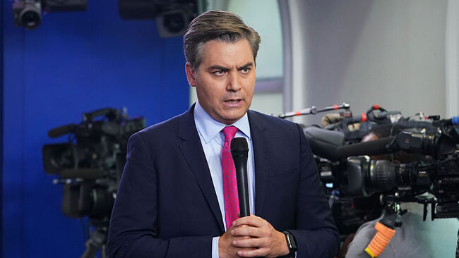 CNN chief White House correspondent Jim Acosta is seen before a briefing by White House Press Secretary Sarah Sanders in the Brady Briefing Room of the White House in Washington, DC