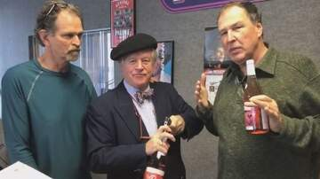 Paul and Al - Bob Burke of Pot au Feu restaurant stops by with Beaujolais Nouveau