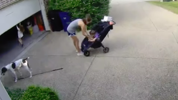 Jay & Amy - Toddler Takes A Joy Ride On Garage Door!