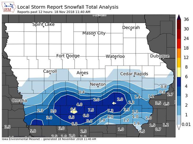 Iowa State University Mesonet Snow Reports