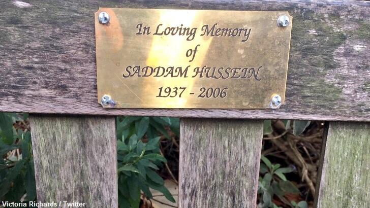 Bizarre Saddam Hussein Memorial Appears on Bench