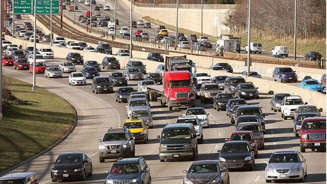 Traffic backs up on the Kennedy Expressway as commuters and holiday travelers try to get an early start on their Thanksgiving travel