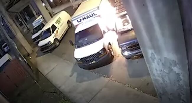 U haul van catches on fire after suspect tries stealing gas