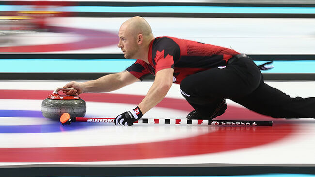 Ryan Fry of Canada in action during the round robin match against Switzerland during day 3 of the Sochi 2014 Winter Olympics