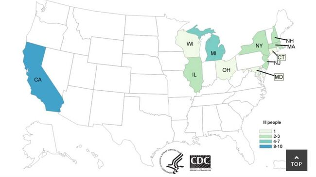 E-coli cases confirmed.  Map by U.S. Centers for Disease Control