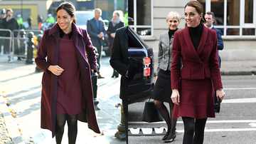Trending - Meghan Markle & Kate Middleton Wore Matching Burgundy Outfits Today