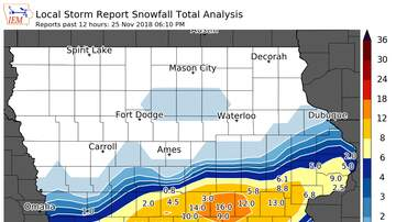 Local News - Iowa Blizzard: 16 inches of snow, icy roads  SNOW MAP