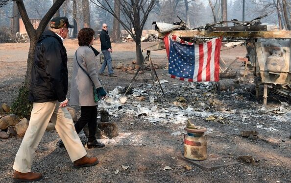 Trump tours Paradise CA fire scene Nov 2018  Getty Images