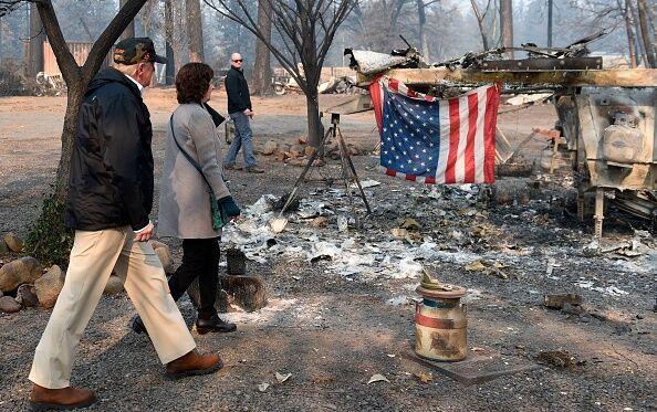 Trump tours Paradise CA fire scene Nov 2018  Getty Images