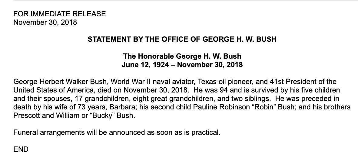 George H.W. Bushdies at 94