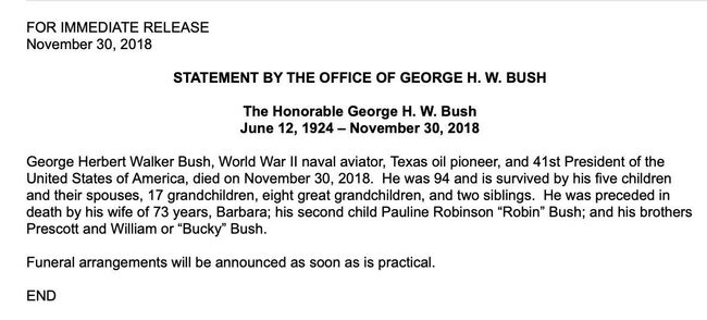 George H.W. Bushdies at 94