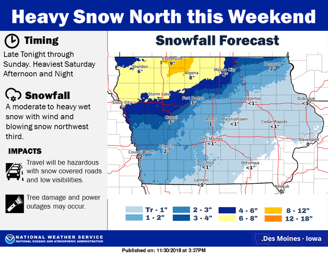 National Weather Service Snow Forecast Map